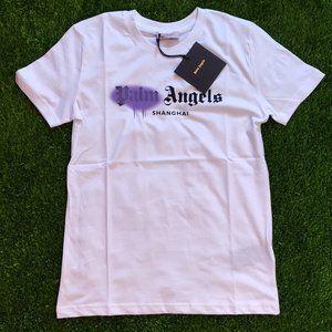 Palm Angels Purple Detail White T-Shirt